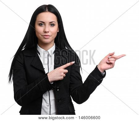 Business Person Pointing Finger At Blank Area