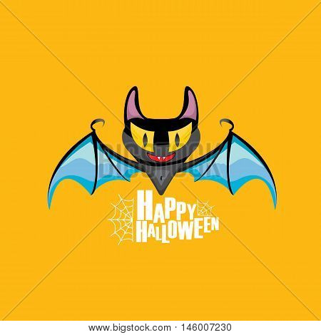 Happy halloween vector kids funny background with cartoon funky bat