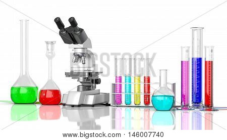 3D render illustration. Laboratory glassware whith color liquid and laboratory microscope on white background