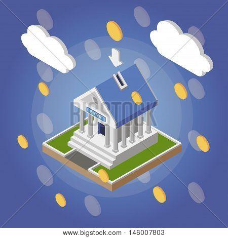 Bank isometric building with money rain. Vector illustration.
