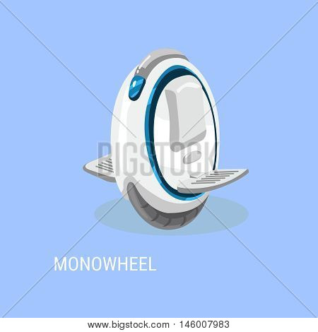 Monowheel, Solo wheel, unicycle. Electrical self-balancing scooter. Alternative Eco Transport vehicle isolated on a blue background. Vector illustration