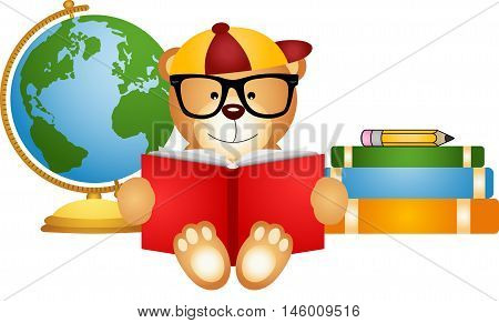 Scalable vectorial image representing a teddy bear reading book with globe, isolated on white.