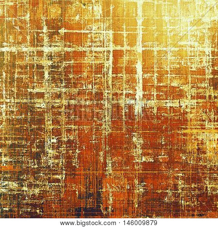 Old style decorative composition or designed vintage template with textured grunge elements and different color patterns: yellow (beige); brown; red (orange); white