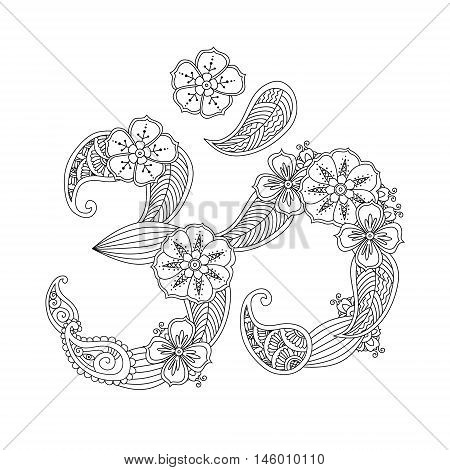 Om, or Aum sign lined with flowers and leaves in henna mehndi style isolated on white background. Symbol of Hinduism. Can be used like antistress coloring book for adult. Art vector illustration.