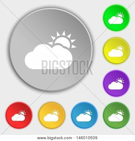 Partly Cloudy Icon Sign. Symbol On Eight Flat Buttons. Vector