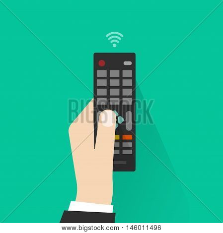 Hand holding remote control from TV vector illustration, flat cartoon man hand with remote control device pressing button
