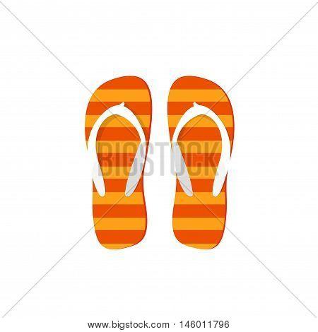 Orange flip-flops vector illustration isolated on white background, flat cartoon striped flipflops