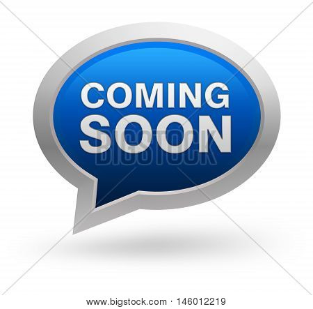 coming soon badge 3d illustration isolated on white  background