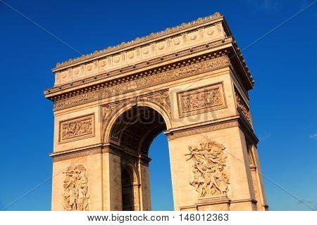 Arc de Triomphe in Paris France shot at sunrise