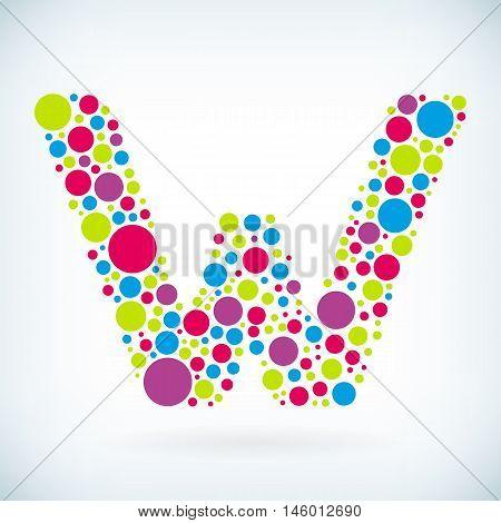 Modern letter W circle stroke colorful symbol icon. Vector editable design for print.