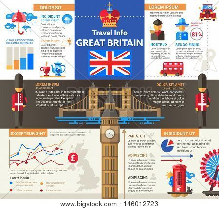 Travel to Great Britain - info poster, brochure cover template layout with flat design icons of British national symbols, other elements and filler text