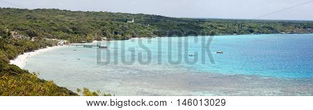 The panoramic view of Easo village beach on Lifou island (New Caledonia).