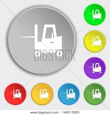 Forklift Icon Sign. Symbol On Eight Flat Buttons. Vector