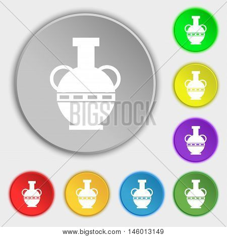 Amphora Icon Sign. Symbol On Eight Flat Buttons. Vector