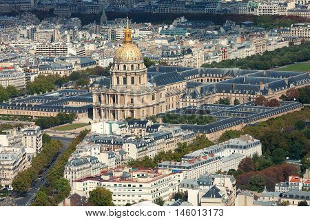 Paris skyline shot from the top of Montparnasse Tower Les Invalides Quarter in the center
