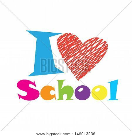 Teacher day. I love school abstract background with red heart. Vector illustration. Back to school card. World Teachers' Day. Education icon.