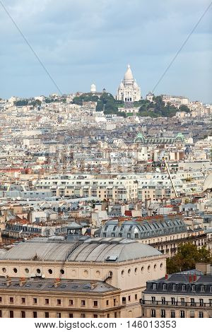 Paris skyline from Notre Dame cathedral. Sacre coeur cathedral on background