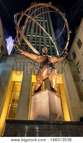 NEW YORK CITY,USA - AUGUST 20,2016:The Statue of Atlas on the Rockefeller Center in New York City  illuminated at night