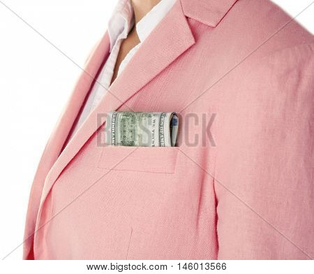 Woman with money on white background