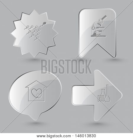 4 images: spermatozoon, lab microscope, orphanage, chemical test tubes. Medical set. Glass buttons on gray background. Vector icons.