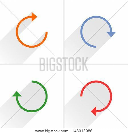 4 arrow icon refresh rotation reset repeat reload sign set 01. Orange blue green red colors pictogram with gray long shadow on white background. Simple flat style vector illustration