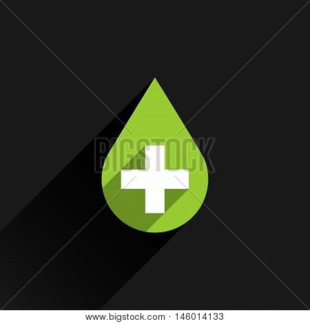 First aid drop green sign with white cross with long shadow in simple flat style. Graphic design elements vector illustration save in 8 eps