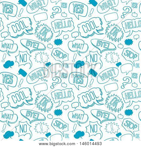 Vector doodle seamless pattern with speech bubbles. Background with words of exclamation in linear style illustration