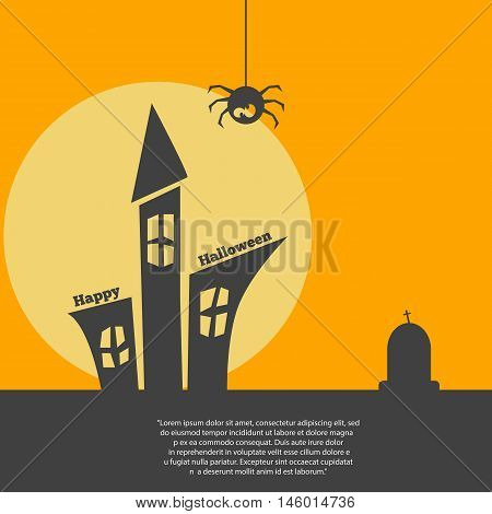Label Or Sticker With Haunted House For Halloween Party Background Eps 10 Vector