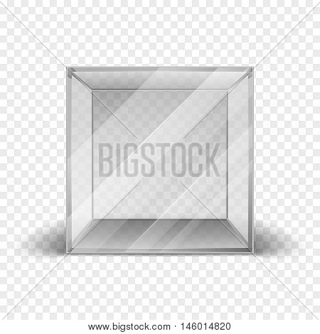 Empty clean glass box cube showcase isolated on checkered background. Mock up clean frame for gallery. Vector illustration