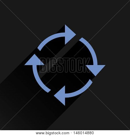 Blue arrow icon reload refresh rotation reset repeat sign. Web pictogram with long shadow on black background. Simple solid plain flat style. Vector illustration graphic design 8 eps