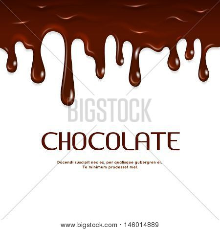Melted dripping chocolate seamless vector. Sweet yummy milk chocolate illustration
