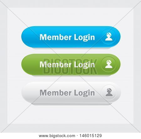 Set of vector web interface oval buttons. Member login.