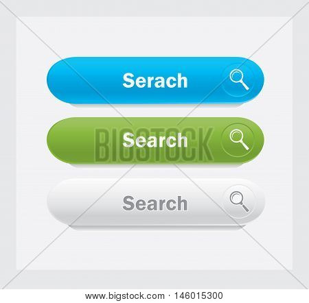 Set of vector web interface oval buttons. Search.