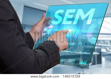 Internet. Business. Technology Concept. Businessman Presses A Button Sem On The Virtual Screen Table