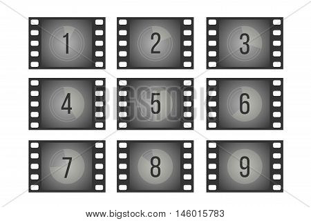 Old cinema film countdown movie frames with numbers vector set. Reverse the sequence count illustration