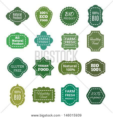 Vintage natural organic bio product green tag, labels, emblems and badges. patches with seam, healthy food and farm fresh product. Vector illustration