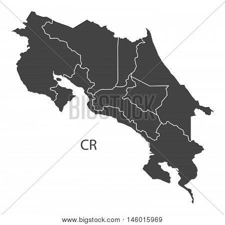 Costa Rica grey map with regions isolated vector high res