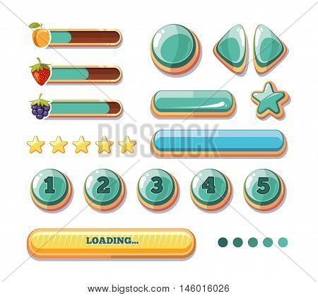Progress bars, buttons, boosters, icons for computer games user interface. Cartoon gui for play. Vector illustration collection