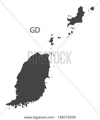 Grenada grey map isolated vector high res