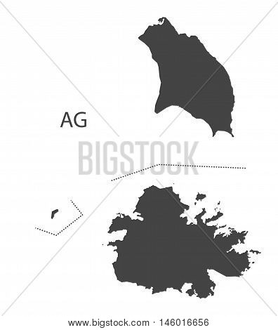 Antigua and Barbuda grey map isolated vector high res