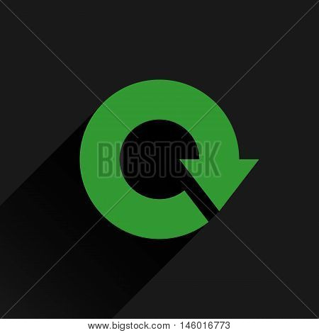 Green arrow icon reload refresh rotation reset repeat sign. Web pictogram with long shadow on black background. Simple solid plain flat style. Vector illustration graphic design 8 eps