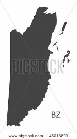 Belize grey map isolated vector high res