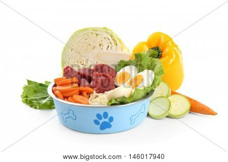 Healthy dog food, isolated on white