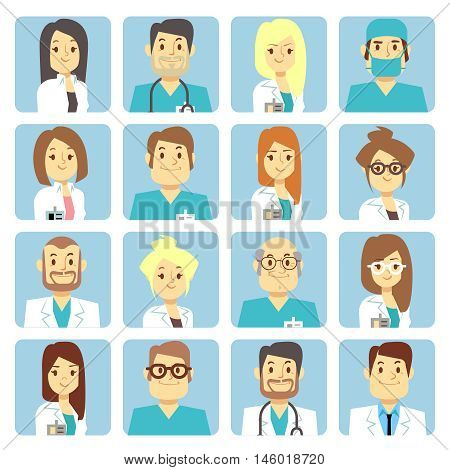 Doctor and nurse flat vector avatars. Person character profession surgeon illustration