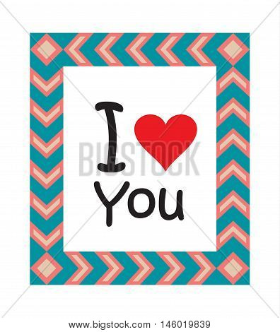 Love greeting card with red heart. I love You. Vector illustration. Love background. T-Shirt Print. Valentines Day poster. Love Vintage style. Love Heart frame. Thank You