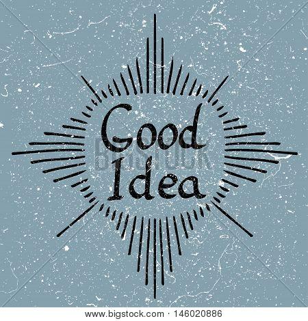 Human brain with text - Good Idea. Conceptual vector illustration for creative brainstorm metaphor.