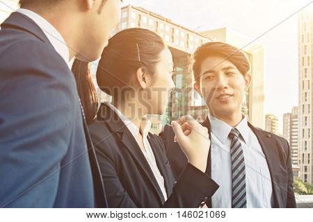 Business people discuss or meeting in the city.