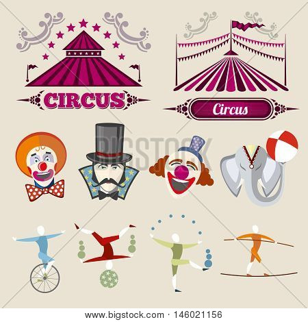 Vintage hipster circus vector set in flat style. Circus vintage element, hipster citcus elephant and clown, circus hipster entertainment illustration