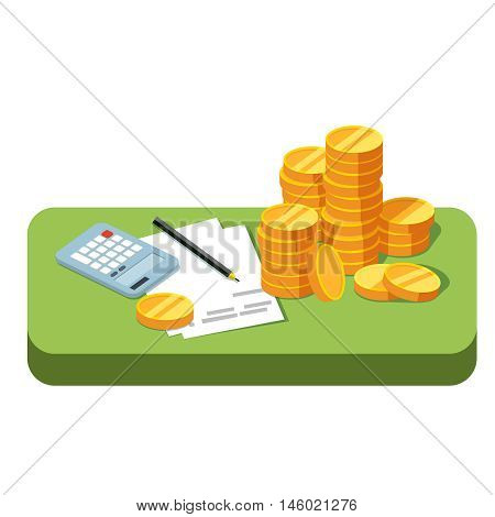 Green table with stacks of coins working papers and calculator isolated. Making money accounting. Business success. Vector illustration in style flat is on white background