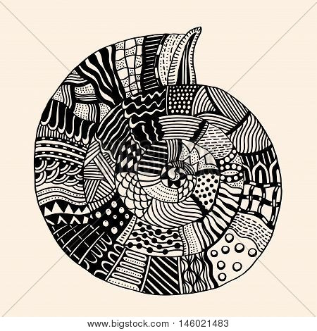 Sea Shell with abstract pattern. Vector illustration. Hand drawn Doodle artwork. Summer concept for party card, ticket, branding, logo, label. Black, beige color